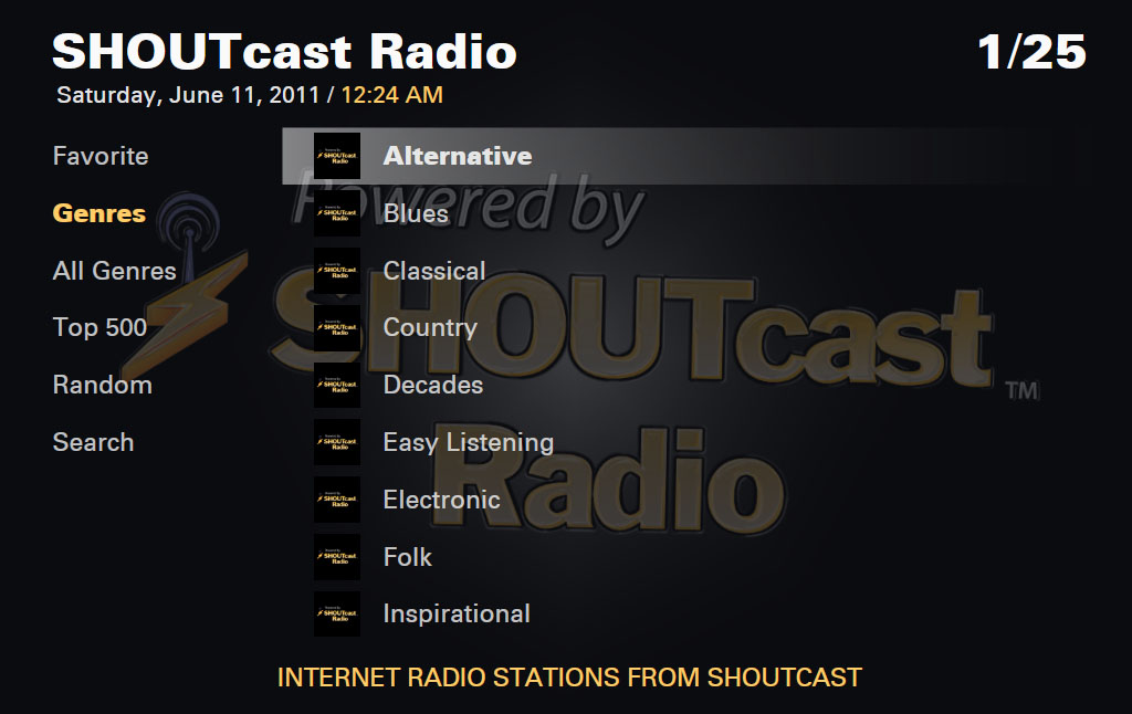 SHOUTcast Plug-in genre selection