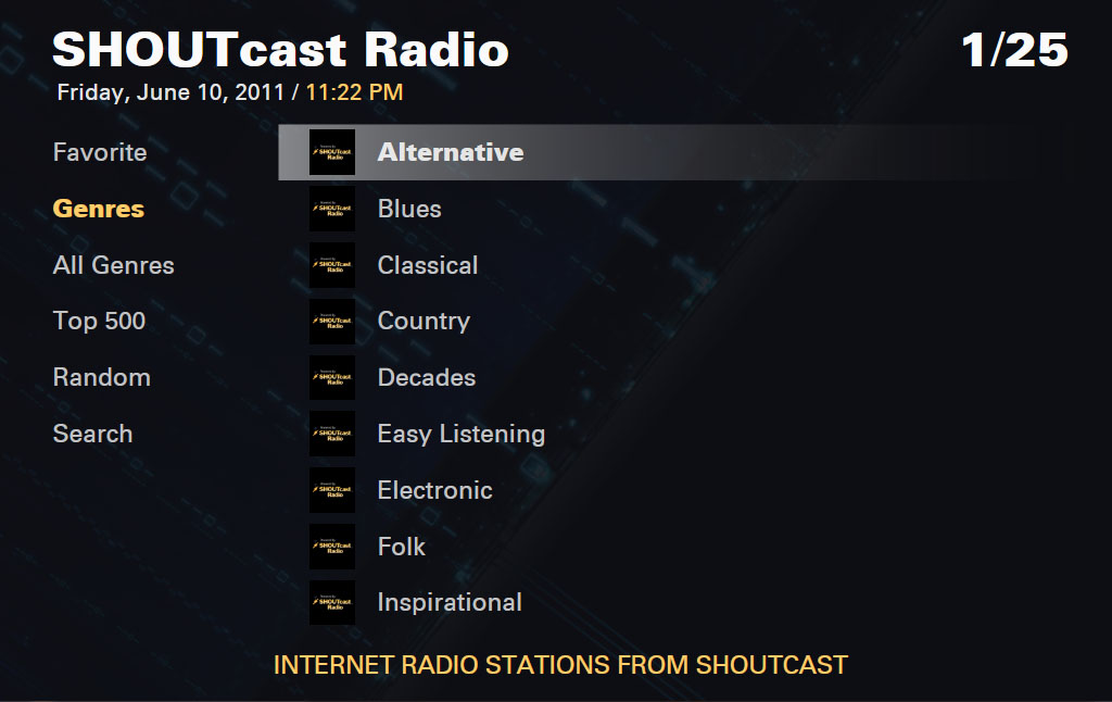 SHOUTcast Plug-in screen